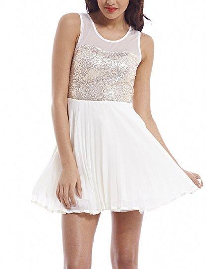 5e0e19283483 AX Paris Cream   Gold Sequin Skater Dress - Women