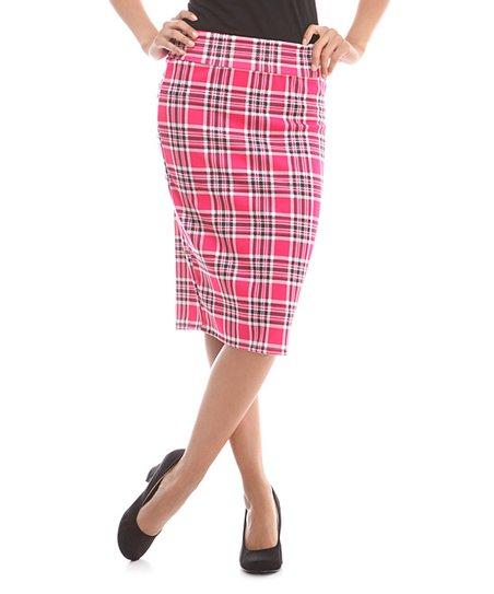 31f325f0b9 BOLD & BEAUTIFUL Pink and Black Plaid Pencil Skirt | Zulily