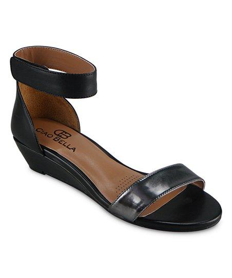 e2920dd6718c6 Ciao Bella Black Wilson Leather Wedge Sandal