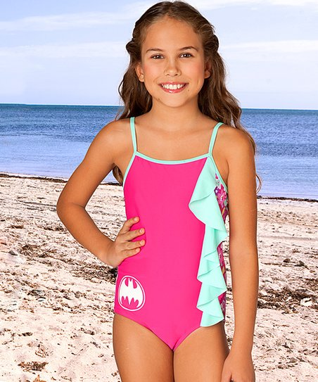 fce190180f056 love this product Pink Batgirl Floral Ruffle One-Piece - Toddler & Girls