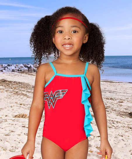 54a3b753ef71a love this product Red & Blue Cheetah Wonder Woman Ruffle One-Piece - Toddler