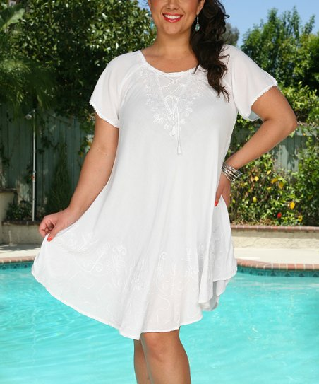 4aec7080d1f Ananda s Collection White Embroidered Lace-Up Cover-Up - Plus