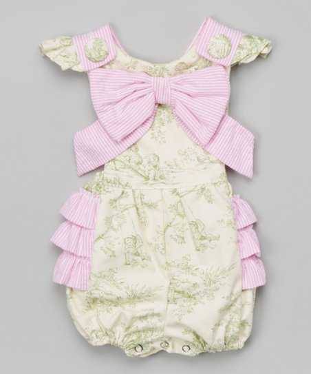 c625d173ee8 love this product Green Toile   Pink Seersucker Ruffle Bubble Romper -  Infant