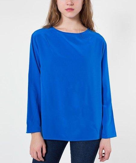 e87407989e6 American Apparel Princess Blue Washed Silk Top