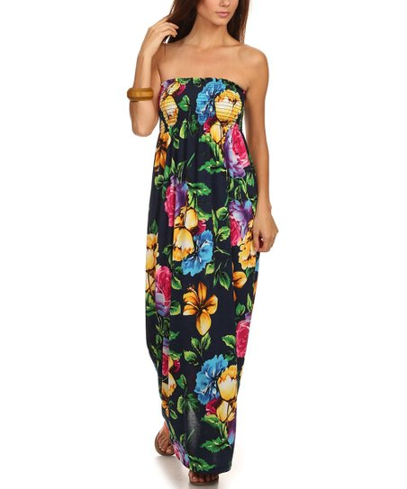 2298be178d6 love this product Navy Floral Shirred Strapless Maxi Dress