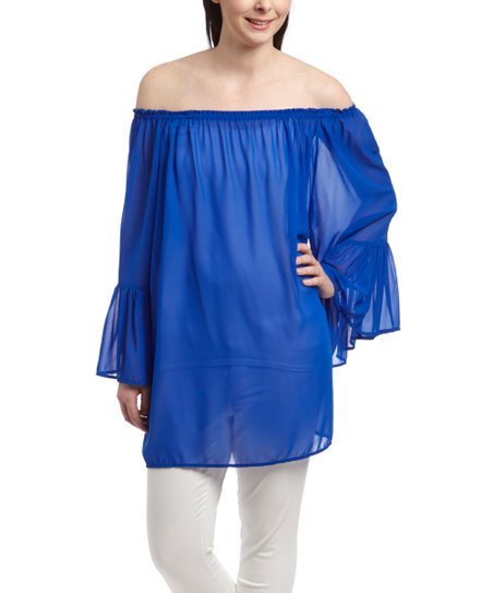 6511416f7be984 love this product Royal Blue Ruffle Off-Shoulder Tunic - Women