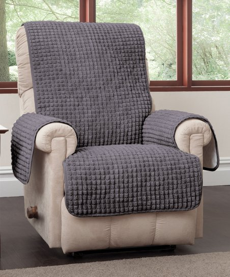 Jeffrey Home Gray Puff Wing Chair Recliner Protector  acd4e694b
