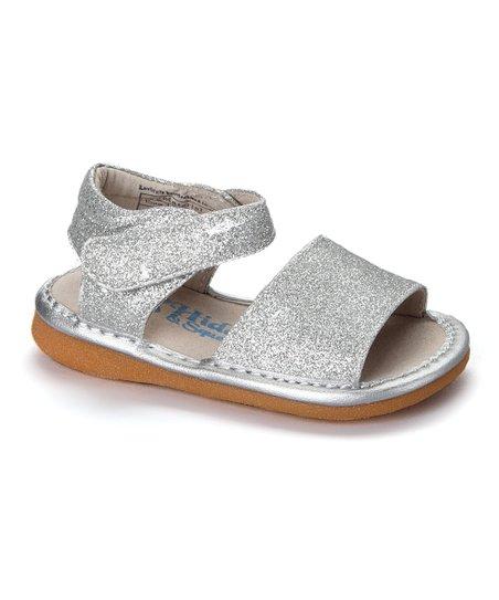 e1f436317bec Hide & Squeak Silver Glitter Squeaker Leather Sandal - Girls | Zulily