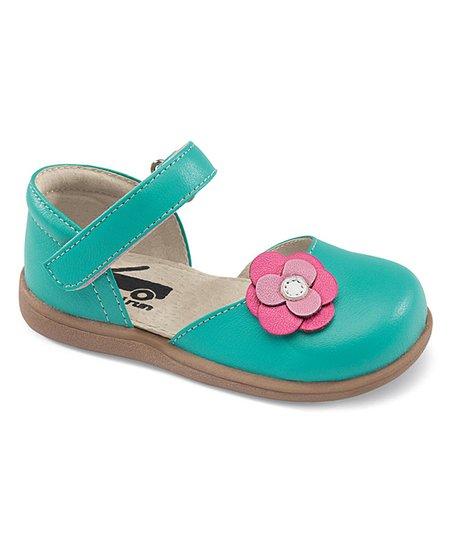 See Kai Run Aqua Floral Jolissa Leather Mary Jane  25347d33b