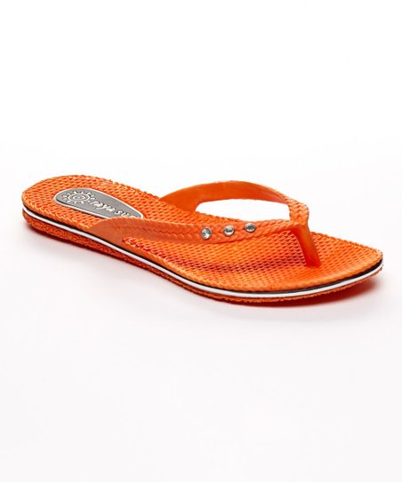 86bca14aaa8a89 love this product Orange Basket-Weave Embellished Flip-Flop - Women