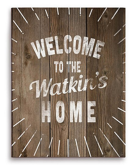 Image Canvas Wood Texture Personalized Welcome Sign Zulily
