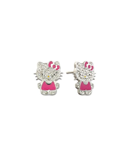 d679e975b love this product Silvertone & Crystal Hello Kitty Stud Earrings