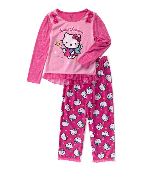 12dae1d133ea3 Hello Kitty Pink Hello Kitty 'Sweet Dreams' Pajama Set - Girls
