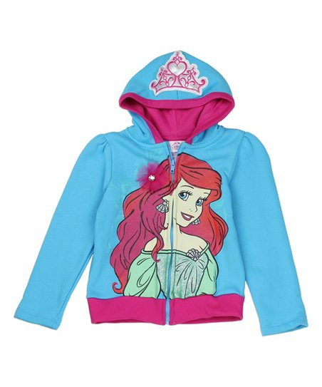 6bed323d5c Children's Apparel Network Blue & Pink The Little Mermaid Ariel Hoodie -  Girls