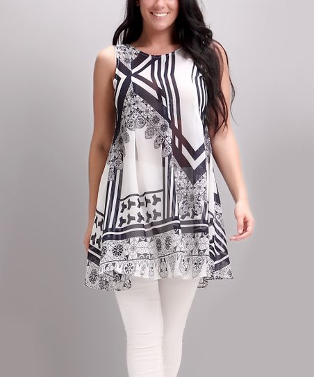 2eabbc9b86e Reborn Collection Black & White Art Deco Tie-Back Swing Tunic - Plus ...