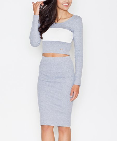 eb0c596cfa FIGL Gray Color-Block Crop Top & Pencil Skirt Set - Women | Zulily