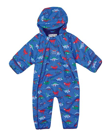 e30ebfd05 JoJo Maman Bébé Blue Dinosaur Fleece Waterproof Snowsuit - Infant ...