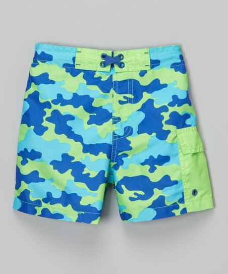 c921c5900e Mick Mack Blue & Green Camo Swim Trunks - Infant | Zulily