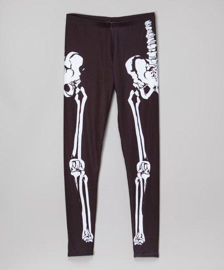 0d06f662bb2 Citi Life Kids Black   White Skeleton Leggings - Toddler   Girls ...