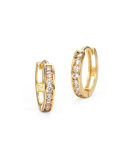 Cubic Zirconia 14k Gold Plated Huggie Earrings