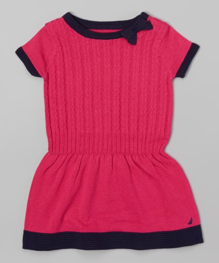 69c1084f4899 Nautica Pink   Navy Drop Waist Sweater Dress - Infant   Toddler