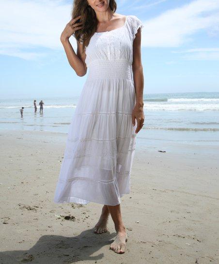 Anandas Collection White Eyelet Shirred Peasant Maxi Dress  4fb677c94