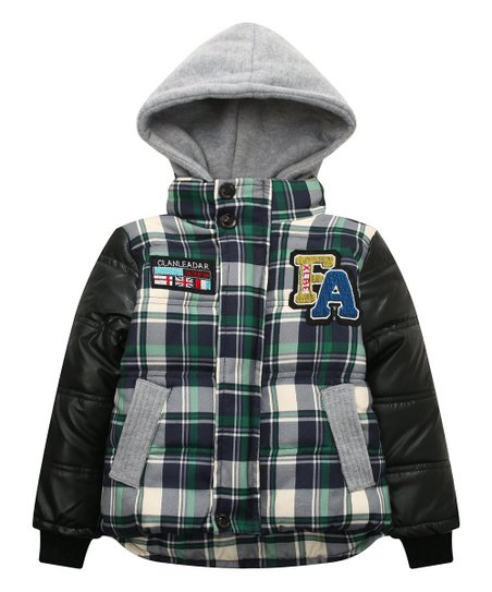 cb8e2fca1 Richie House Green Plaid Hooded Puffer Coat - Toddler   Boys