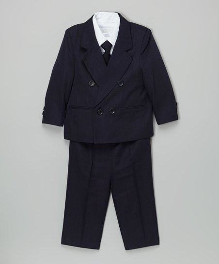 Sweet Kids Navy Double Breasted Suit Set Infant Toddler Boys