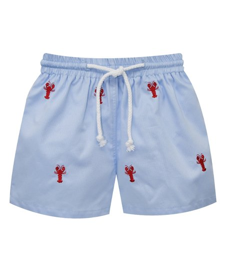 7985575eed09 K L Light Blue Lobster Embroidered Swim Trunks - Infant   Boys