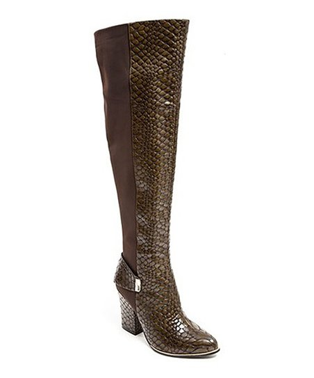 e083f0c8abe love this product Olive Enzo Snake Print Over-the-Knee Boot