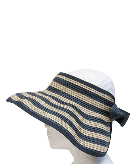 8c91fa4f389a8 Boardwalk Style Navy   Natural Nautical Stripe Roll-Up Bow Visor ...