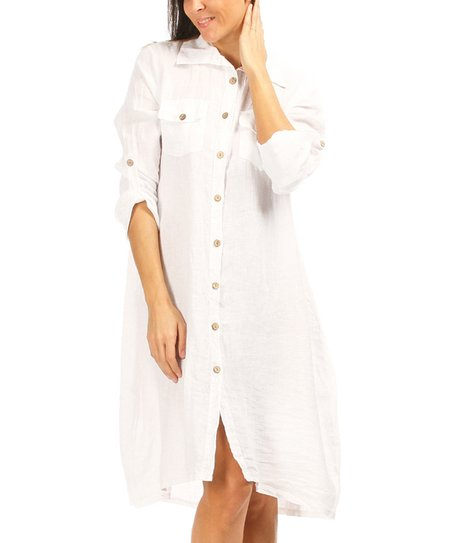 f06aa56404 Lin Pour Lautre White Button-Up Linen Shirt Dress - Women   Plus ...