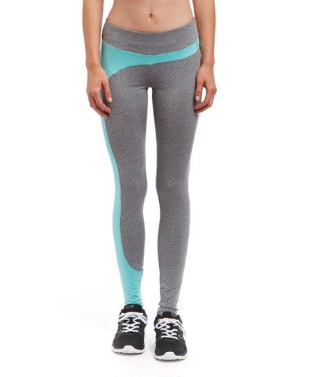 f477b1b47a4 Starfit USA Light Gray & Aqua Yoga Pants
