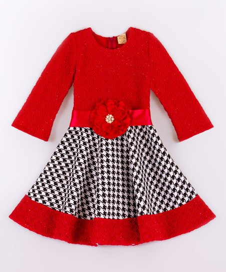 cc052d23b2367 Mia Belle Baby Red & Black Holiday Dress - Toddler & Girls | Zulily