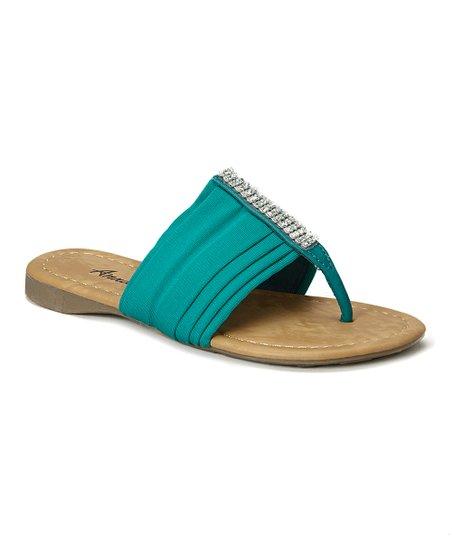 0097813fa5c7 Anna Shoes Green Rhinestone Sandal
