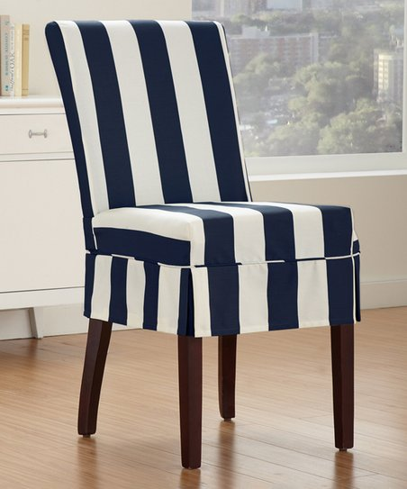 Stupendous Caber Surefit Indigo Cabana Pleated Parson Chair Cover Zulily Gmtry Best Dining Table And Chair Ideas Images Gmtryco
