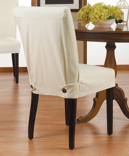 Fantastic Caber Surefit Natural Duck Shorty Parsons Chair Cover Gmtry Best Dining Table And Chair Ideas Images Gmtryco