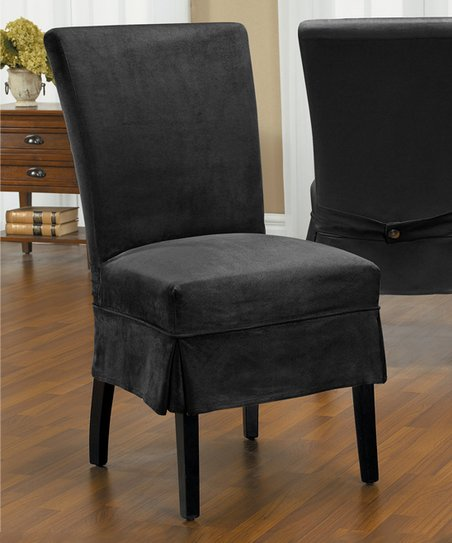 Prime Caber Surefit Black New Luxury Suede Parson Mid Pleat Chair Gmtry Best Dining Table And Chair Ideas Images Gmtryco