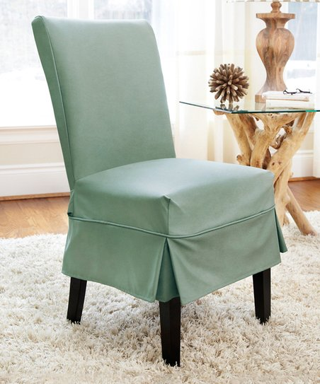 Magnificent Caber Surefit Sea Glass Twill Parson Mid Pleat Chair Cover Gmtry Best Dining Table And Chair Ideas Images Gmtryco