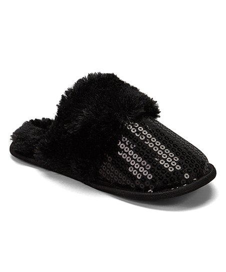 1fb1dc91866 Ducson Imports Black Sequin Slipper - Girls