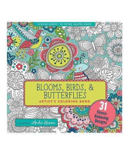 Peter Pauper Press Blooms Birds Butterflies Artists Coloring Book