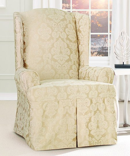 Surprising Sure Fit Champagne Middleton Wing Chair Cover Zulily Machost Co Dining Chair Design Ideas Machostcouk