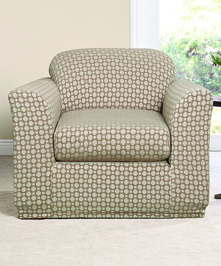Cool Sure Fit Earth Vanilla Bean Stretch Box Links Two Piece Chair Cover Gmtry Best Dining Table And Chair Ideas Images Gmtryco