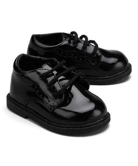 La Sun Black Glossy Dress Shoe Boys Zulily