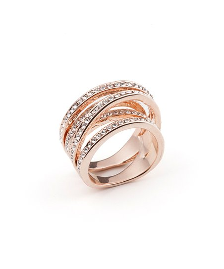 0a64a7def VipDeluxe Crystal & 18K Rose Gold Twist Ring with Crystals from ...