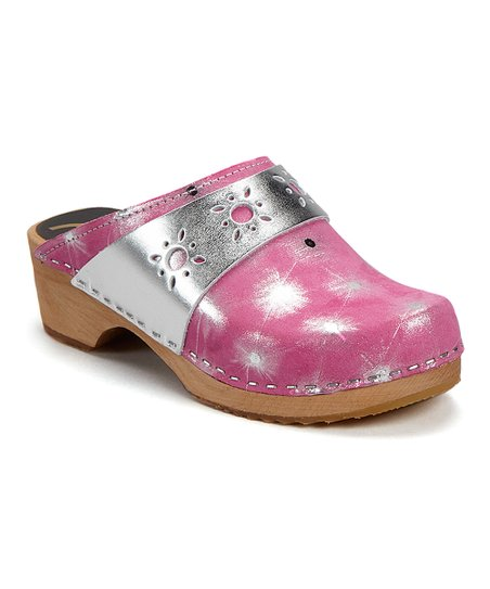 552ac9524d Cape Clogs Pink & Silver Starburst Leather Clog - Women