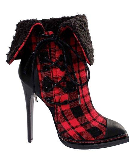 Red \u0026 Black Plaid Tribe Bootie