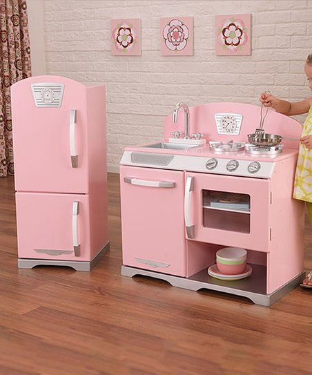 KidKraft Pink Stove & Refrigerator Retro Kitchen Set