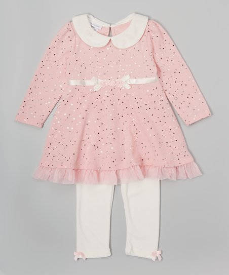 de9f8541c1290a love this product Pink Sparkle Dress & White Leggings - Infant & Toddler