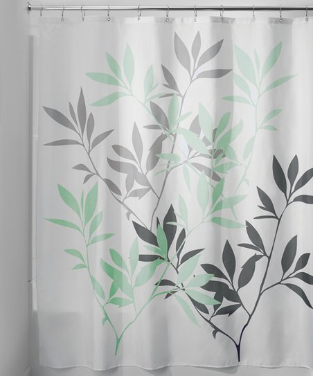 Gray Mint Leaves Shower Curtain